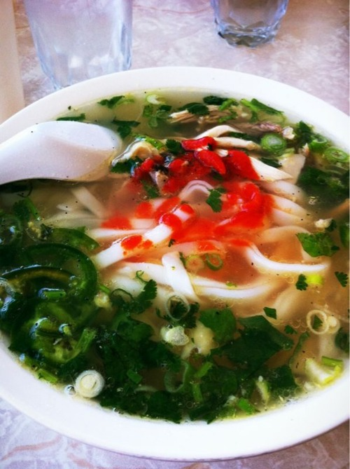 Turtle Tower Pho, Tenderloin, SF. #9 chicken pho with a glass of coconut water. Still simply the best.