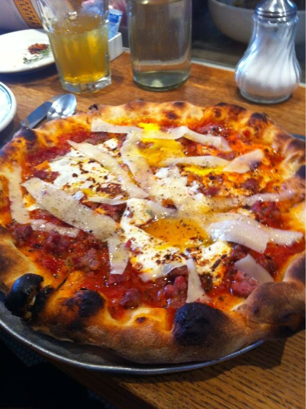 Pizzeria Delfina: mission district, SF. Two eggs, spicy tomato-y goodness, fennel sausage amazingness, pecorino…drool
