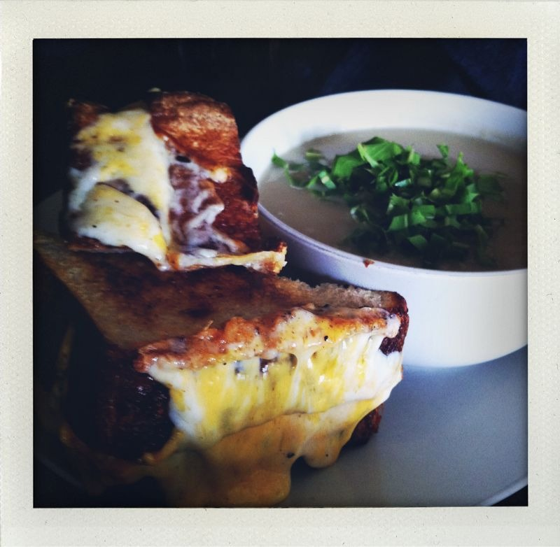 Outerlands: outer sunset, sf. Best grilled cheese with cauliflower-cardoon soup!