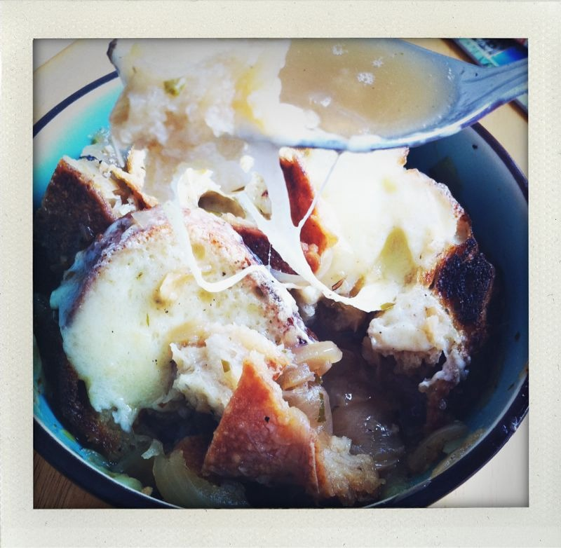 Soup Mama's house: inner sunset, sf. Onion soup — lots of caramelized onions, acme sour batard, cave aged Gruyere.
