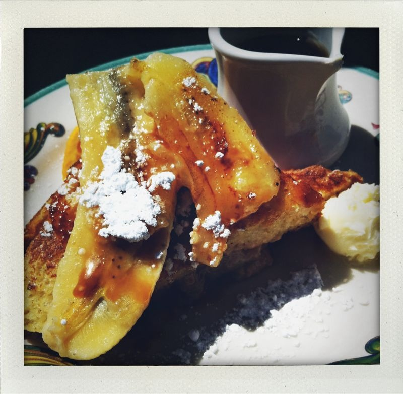 Zazie: Cole valley, SF. Stuffed french toast w/caramelized bananas and walnuts. And an outdoor patio in the sunshine!