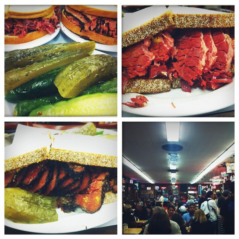 Katz deli: lower east side, NY. Housemade pickles, corned beef on rye, pastrami on rye…delish!