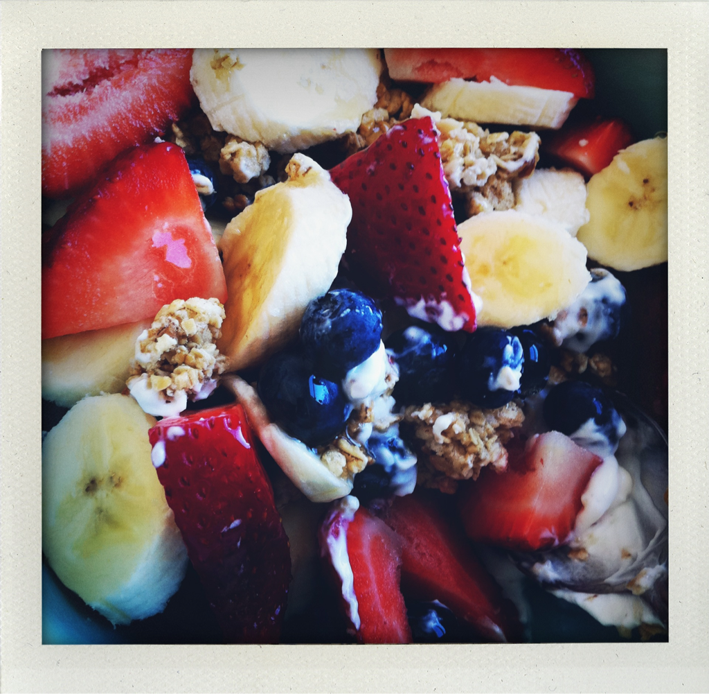 Breakfast: Greek non-fat yogurt, farmer's market berries, bananas, honey, maple pecan granola
