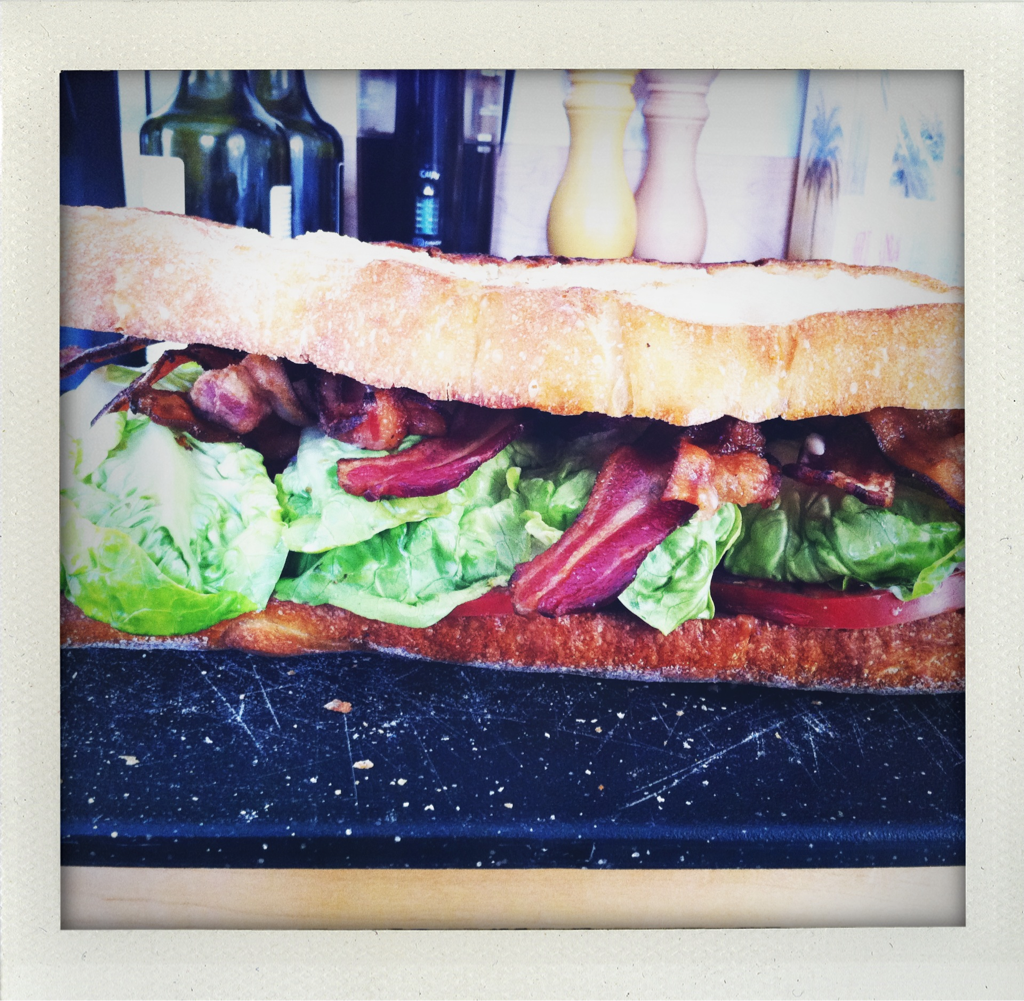 Farmer's market BLT: Niman ranch dry-cured bacon, basil aioli, grilled ciabatta, heirloom tomatoes, little gems