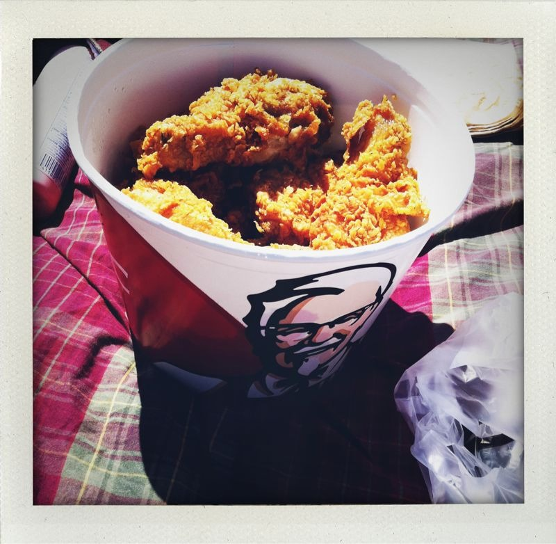 Dolores park. Bucket of KFC. So bad yet so good.