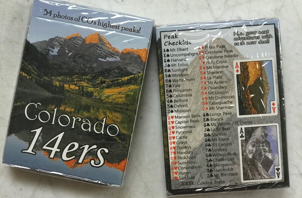 Matthew Tracz - Colorado 14er cards are so cool!  Matt loves hiking the Colorado 14ers and figured out a way to share his love of that beauty with everyone else.  Not only do we have decks of cards with the 14ers (all but 2 fit a deck) filled with facts for each peak but we have magnets also.  There are two types of magnets, 3 dimensional and flat.  Matt has even created a 14er-opoly which is a blast to play!
