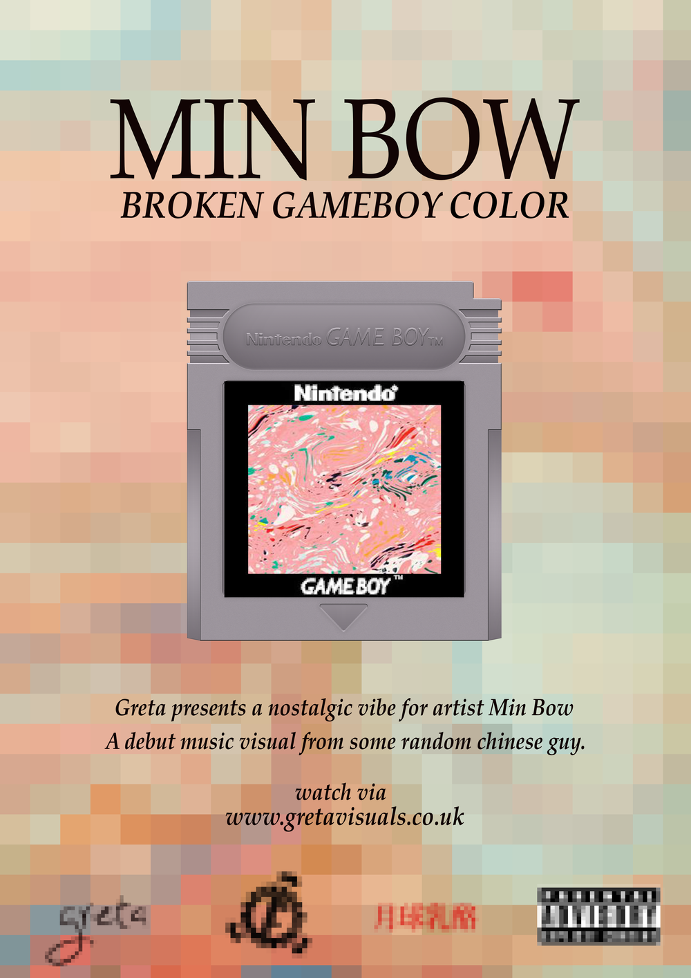 'Broken Gameboy Color' Digital Poster. (The Factory X Half Moon Half Cheese)    Digital Poster for music visual by Min Bow. A beat-maker/visual artist residing from South London. Aims to promote the self directed piece - Broken Gameboy Color. Watch the visual  right here ! (Music Visual)