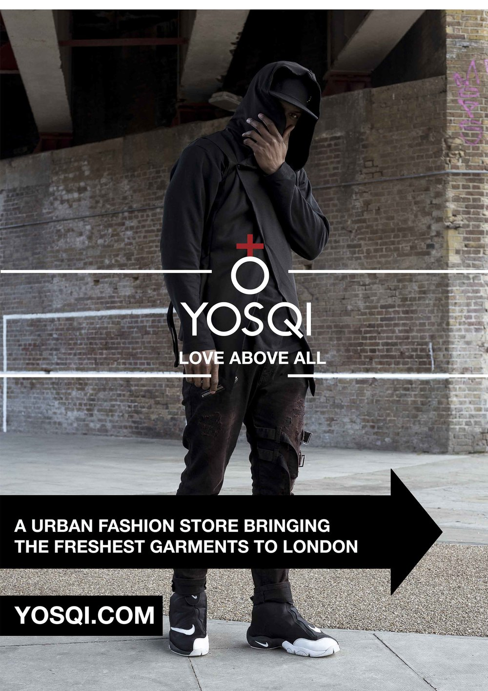 Yosqi - A0 Sandwich Boards (2/3)   Yosqi is a high-end urban fashion store located in the heart of Camden Stable Market. A0 Sandwich boards needed to be created to direct more customers to the store. These were printed and placed around the Camden area. Find out more at  www.yosqi.com   Photography by Marcelenia Sosnowska