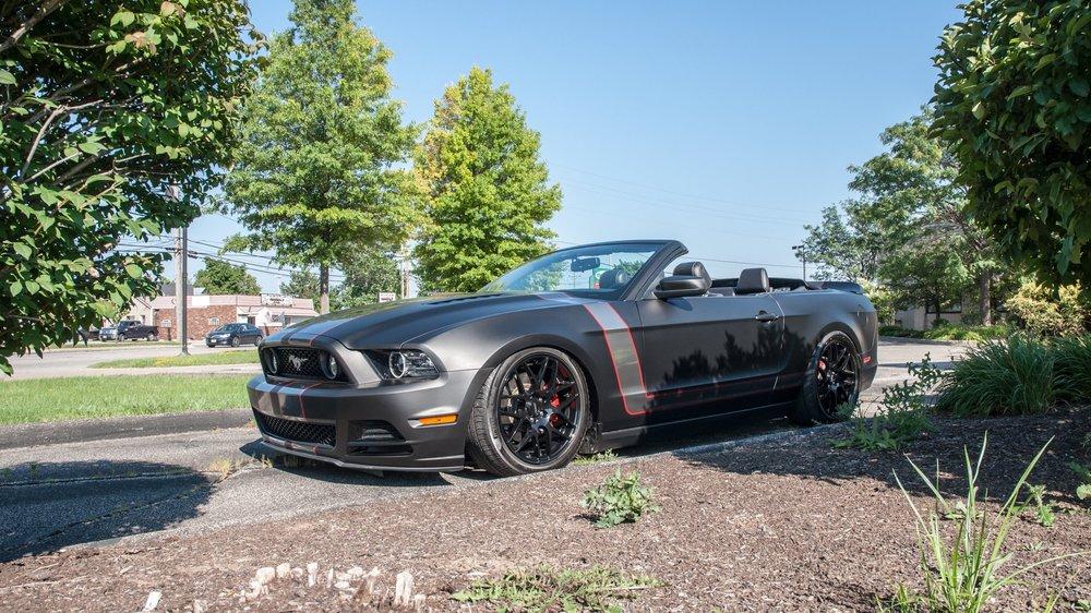 600+ HP Mustang GT - Wrapped in 3M Deep Matte Black, Custom Stripes, Accuair Air Ride