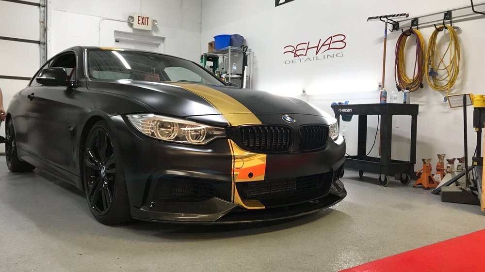 E92 BMW 435i M-Sport - Wrapped in Avery Satin Black, Custom Gold Chrome Stripe, Wheels Refinished