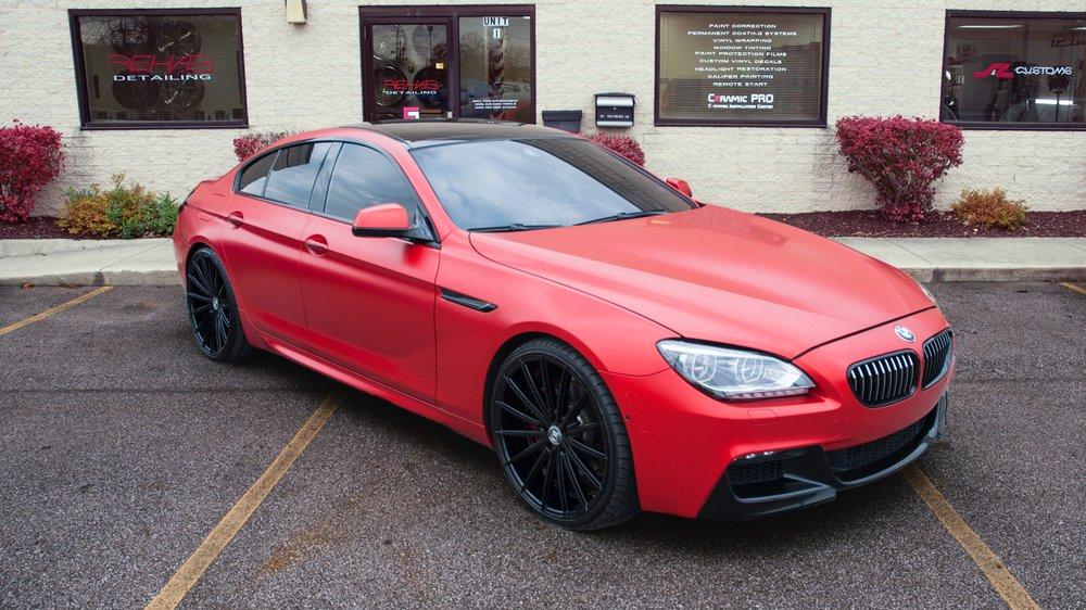 "BMW 650i - Satin Smoldering Red, 22"" Lexanis Refinished, Ceramic Tint, Chrome Delete"