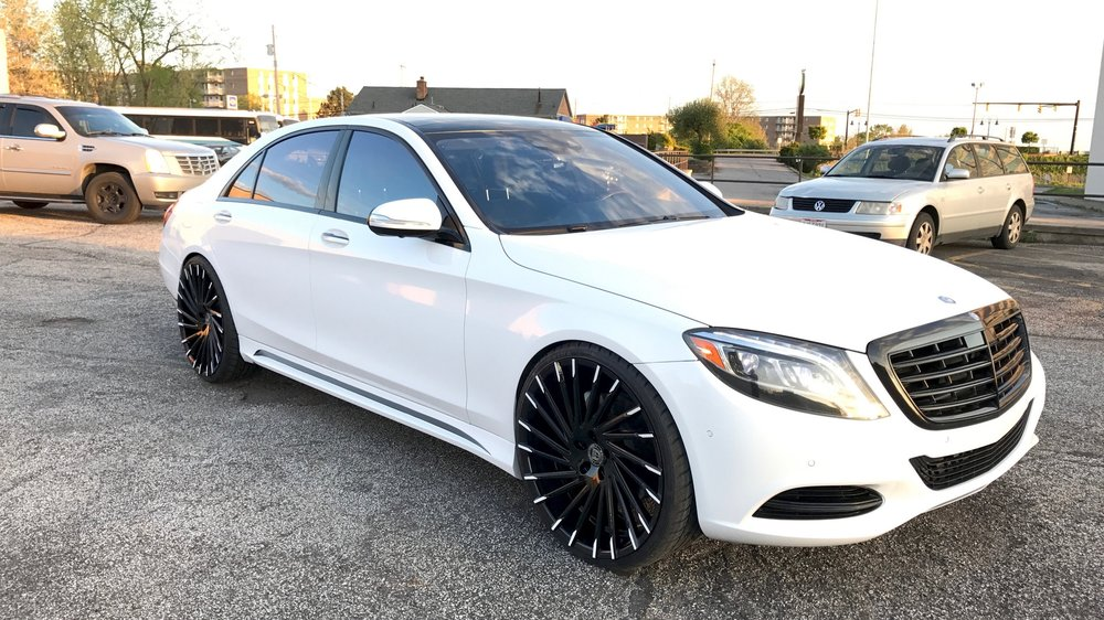 "Mercedes Benz S550 - Wald Aero, 24"" Lexani Wheels, Gloss White, Gloss Black Accents, Ceramic Tint"