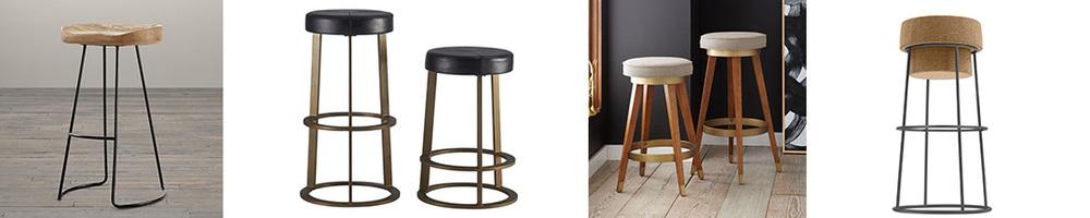 Backless bar stools (L-R): Restoration Hardware $159, CB2 $279, West Elm $259, All Modern $274