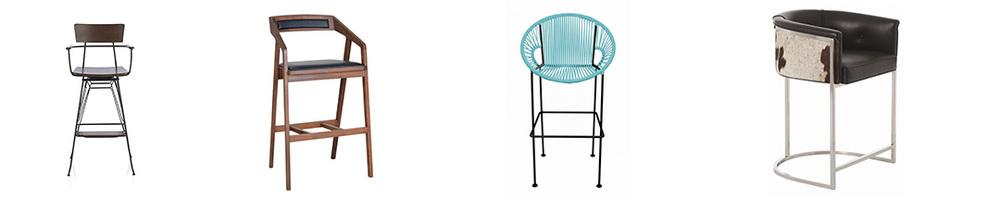 Splurge worthy bar stools (L-R):  Crate & Barrel  $349,  All Modern  $660,  All Modern  $430,  All Modern  $2,160