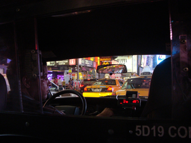 Cab ride Times Square