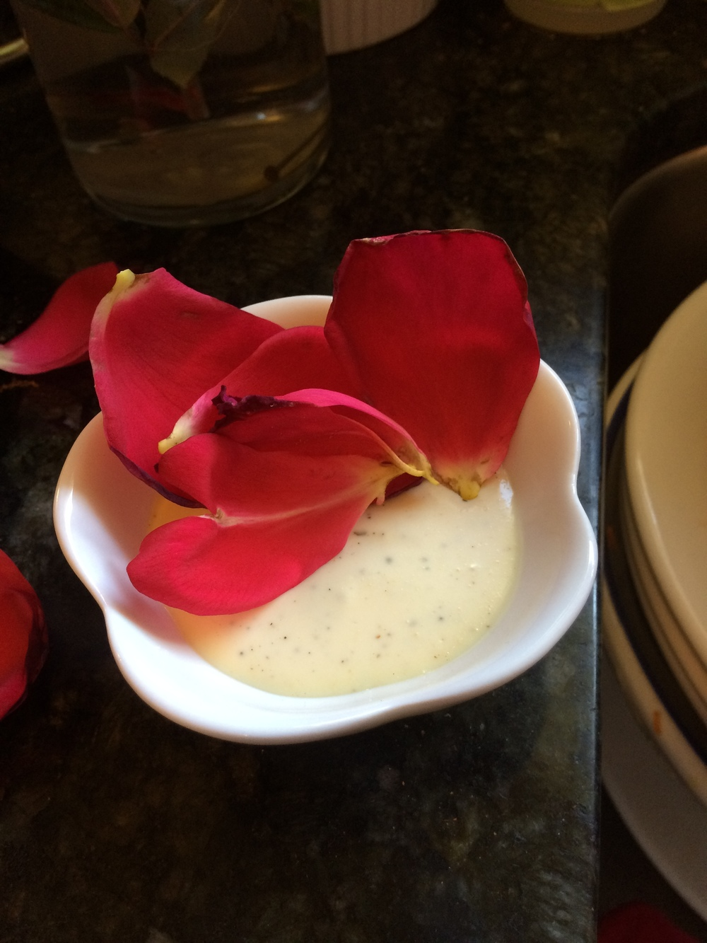 Here's a photo of some rose petals that fell into a cup of ranch dressing. What's even better is that I later found this on my desk, put there as a romantic gesture. Twenty years of marriage, ladies.