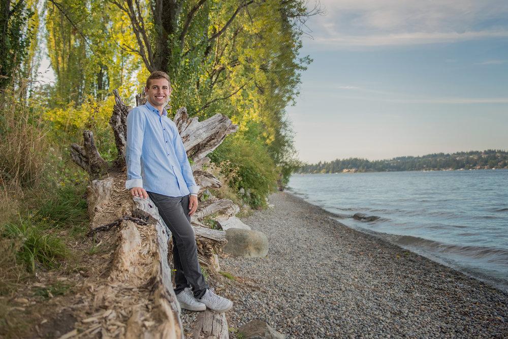 Mary Vance Photography Senior Guy Photographer Sammamish Washington Driftwood Luther Burbank Park
