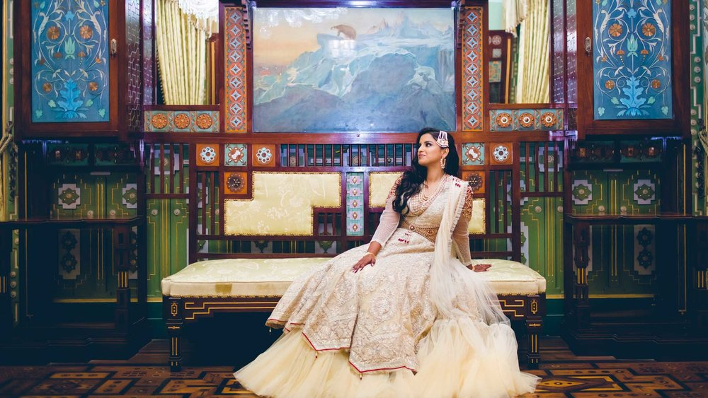 Regal bride at Taj Falaknuma Palace Telugu Hyderabad Wedding