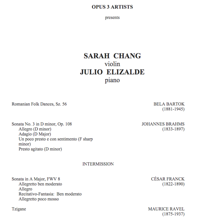 Program announced for Sarah Chang Julio Elizalde concert on – Concert Program