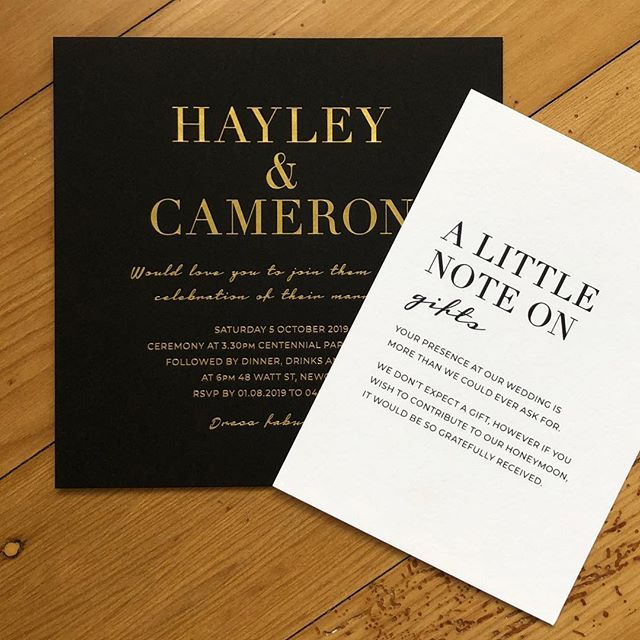 Fabulousness for Hayley and Cameron's wedding stationery. Matt gold foil on Nottorno 300gsm with matching gift cards. 🔥