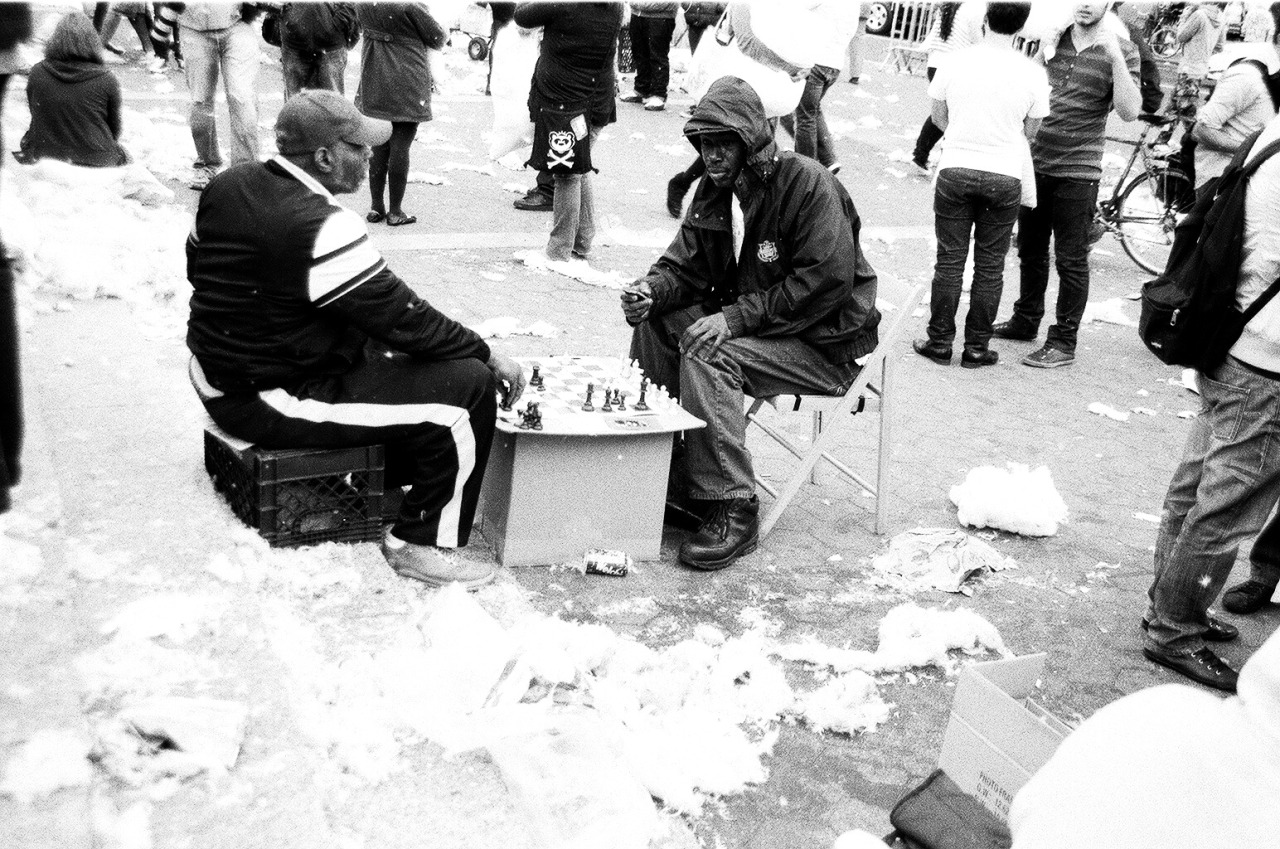 Chess In The Mess    These guys kept their game going during the annual pillowfight in Union Square.
