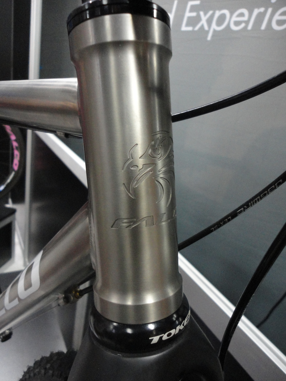 Engraved head-tube badge is a nice touch over the standard riveted version found on most bikes.