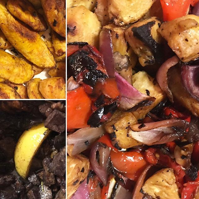 #nola #foodtrade: #platanosmaduros by @djslugworth. #vegan #barbequeshrimp by @tastycode, and skewered #vegetable #medley by @growonurbanfarms