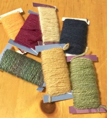 Wool yarns spun for crewel embroidery