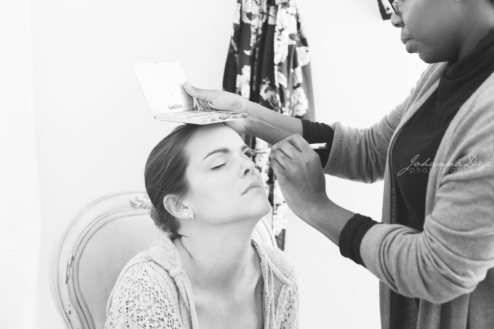 Brittney Taylor Beauty Preparing Our Beautiful Model Carmen Whitaker At Blush Bridal For The Wedding Shoot