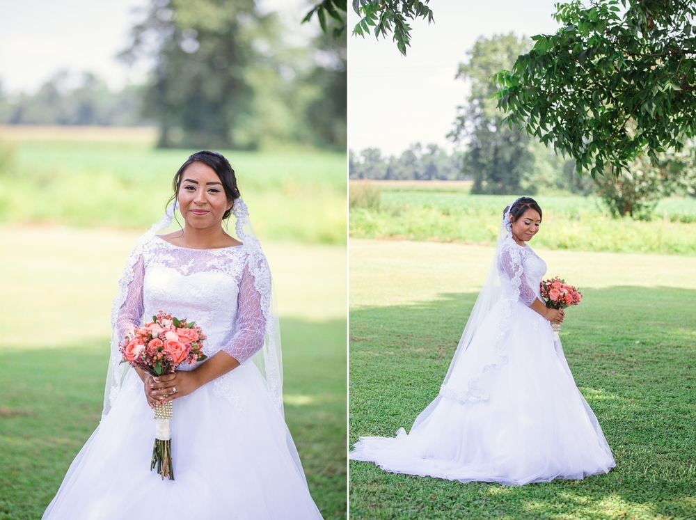 Bride in Lace Ballgown Wedding Dress Portrait with Flowers St Pauls North Carolina Wedding Photography
