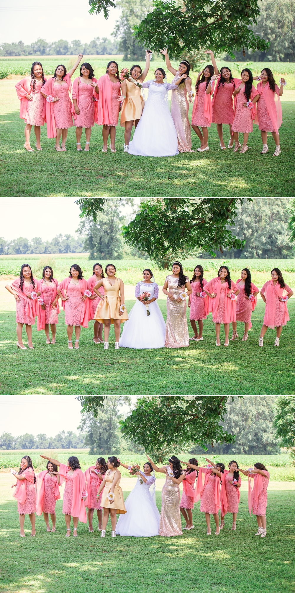 Bridesmaids and Bride Portrait St Pauls North Carolina Wedding Photography