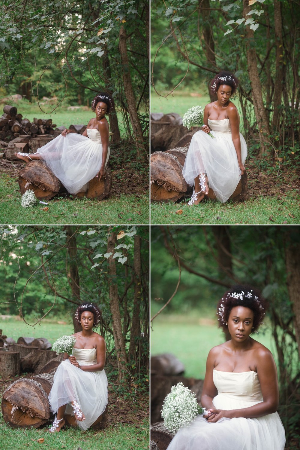 Black Bride with natural hair at bridal session in fayetteville north carolina