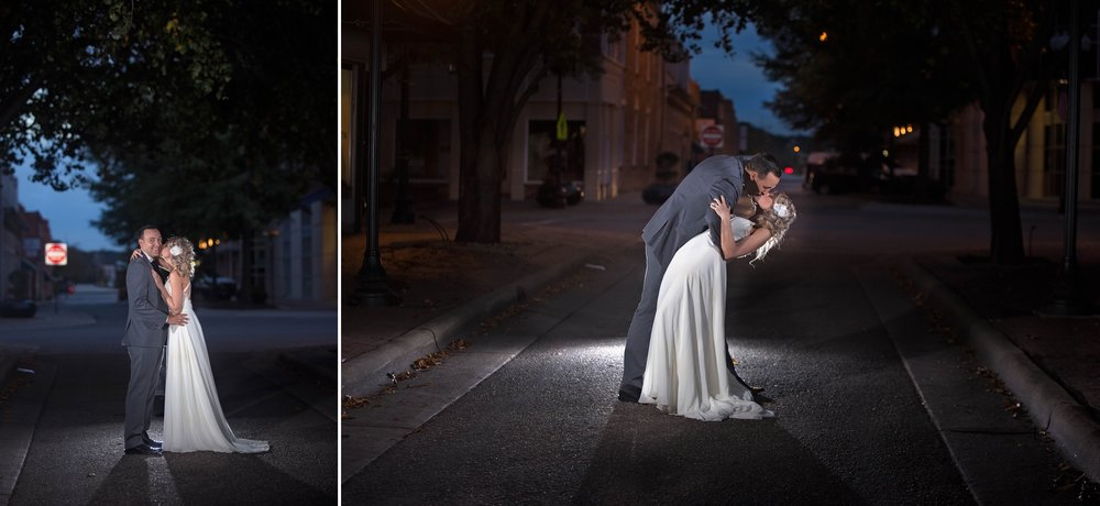 Wedding Portraits at Night in Downtown Fayetteville, NC  using Speedlights OCF - Raleigh North Carolina Wedding Photographer