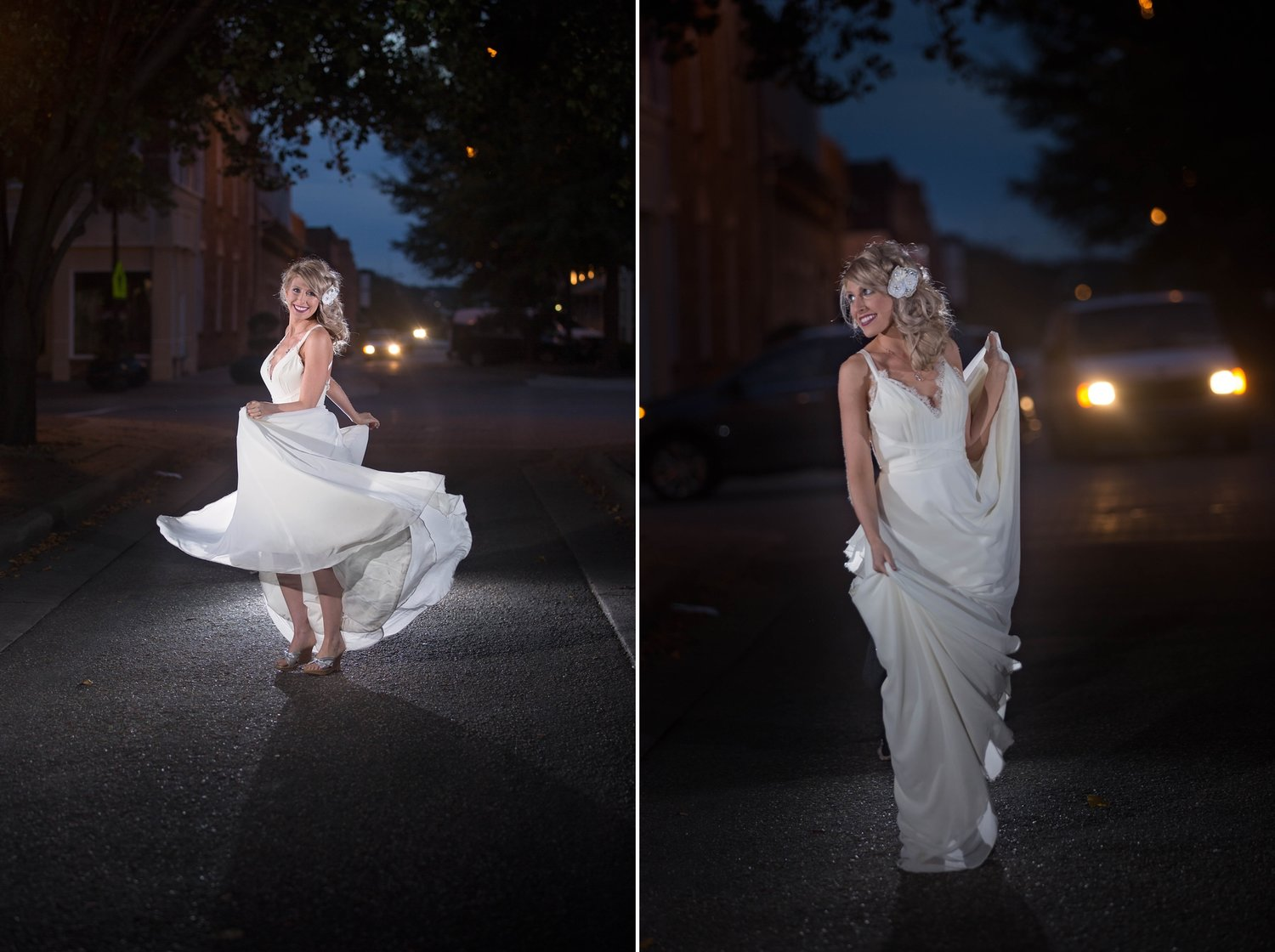Wedding Portraits At Night In Downtown Fayetteville NC Using Speedlights OCF