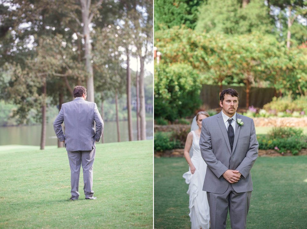 First Look between Bride and Groom - Raleigh Wedding North Carolina Photographer - Johanna Dye Photography