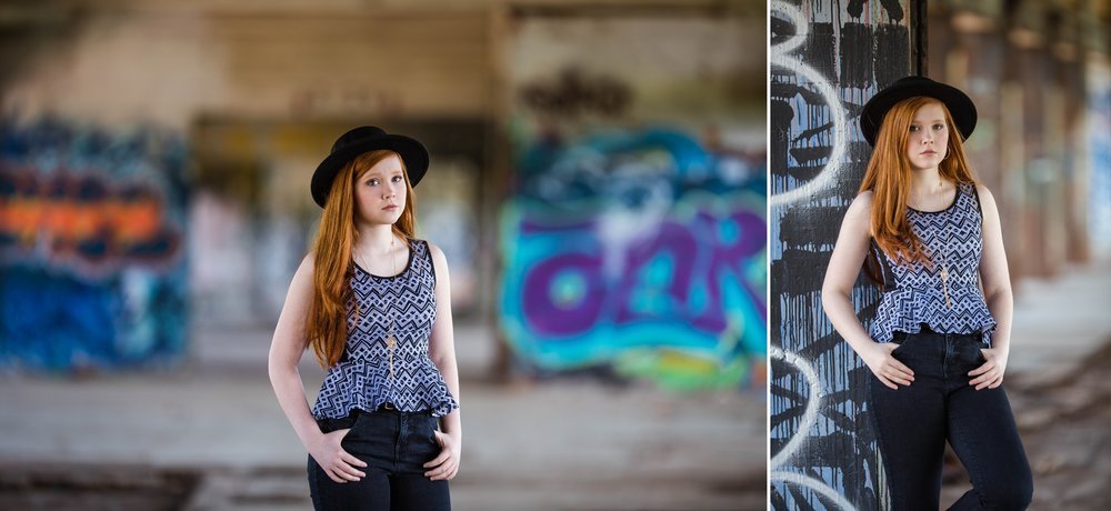 Savannah - Class of 2018 - Fayetteville North Carolina Senior Photography - Edgy Senior Session in old abandoned Building with Graffiti