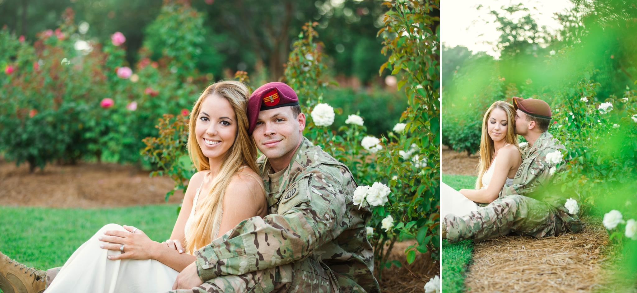 Military Couple Engagement Session At The FTCC Rose Garden