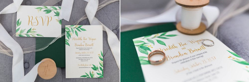 Invitation Layflat and rings - Bridal Details - Chatham Mills in Pittsboro North Carolina Wedding Photography - Johanna Dye - Meredith and Brandon