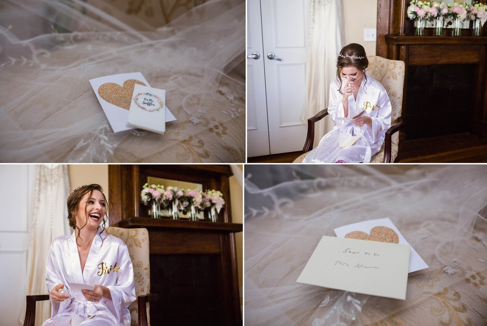 Bride reading the letter her soon to be husband wrote her at a Wedding at Rand Bryan House in Garner, NC - Raleigh North Carolina Wedding Photographer