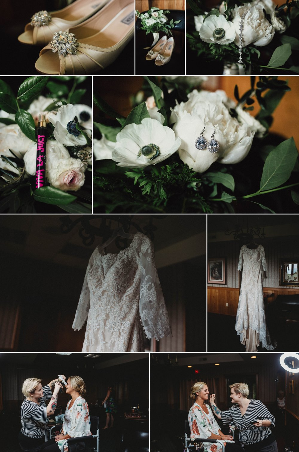 Bridal Details, Bouquet and Wedding Dress, Glitter Shoes, Beech Mountain Club Wedding - Asheville North Carolina Photographer