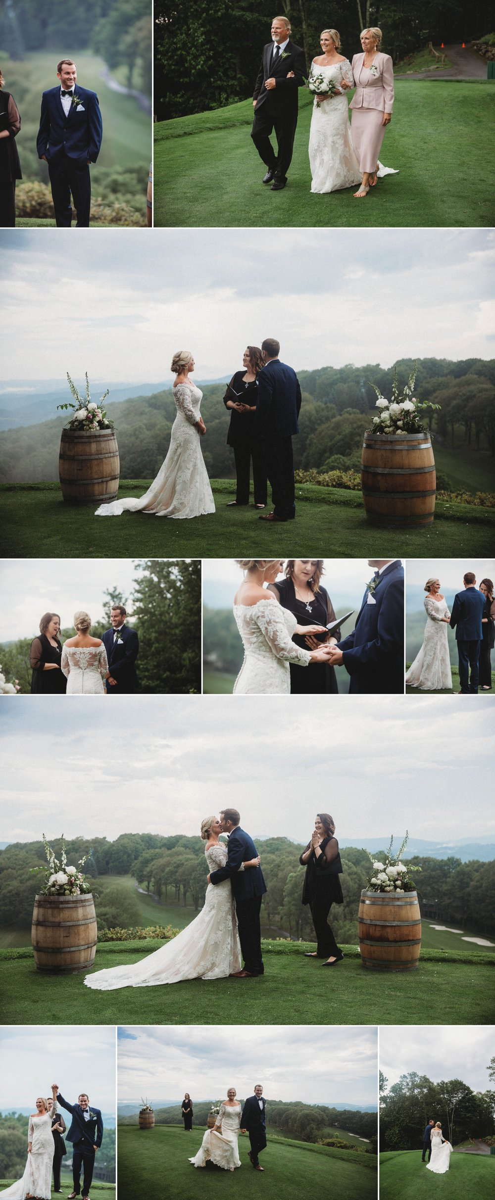 Ceremony over looking the mountains at Beech Mountain Club Wedding - Asheville North Carolina Photographer