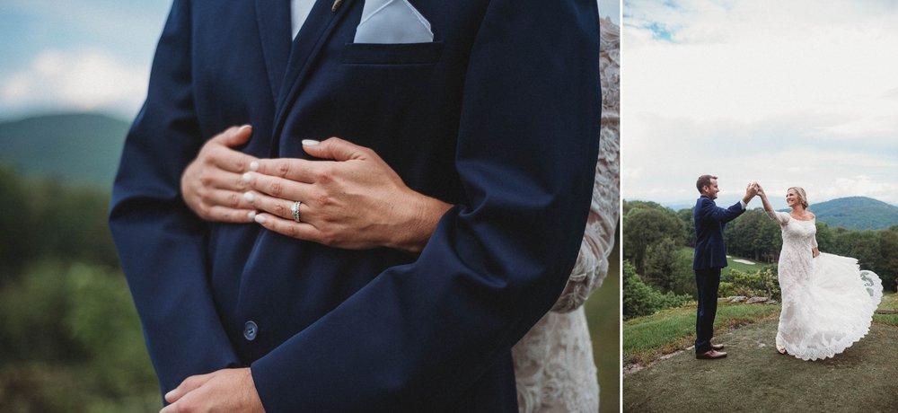 Portraits of Bride and Groom Beech Mountain Club Wedding - Asheville North Carolina Photographer