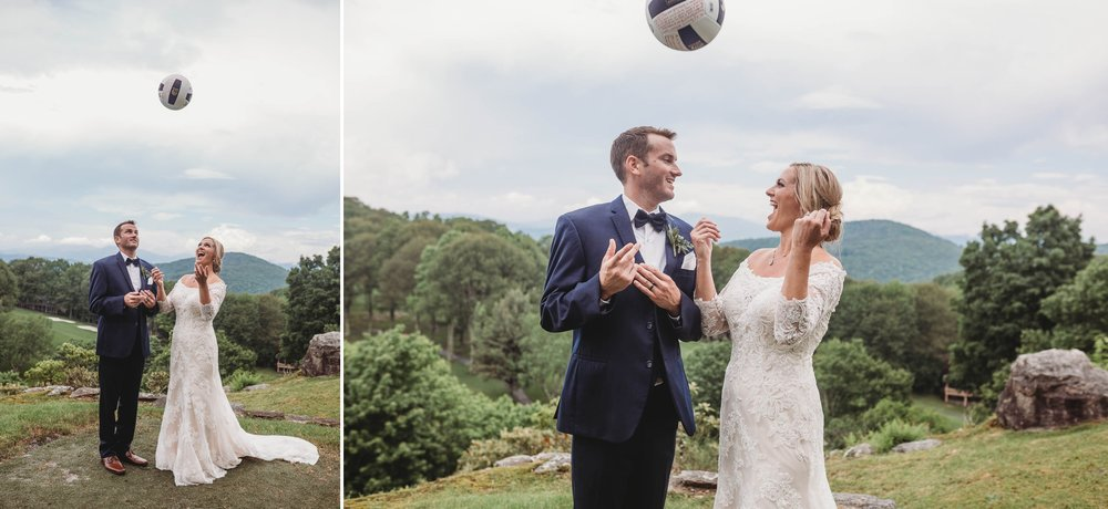 Bride and Groom with a Volleyball - Beech Mountain Club Wedding - Asheville North Carolina Photographer