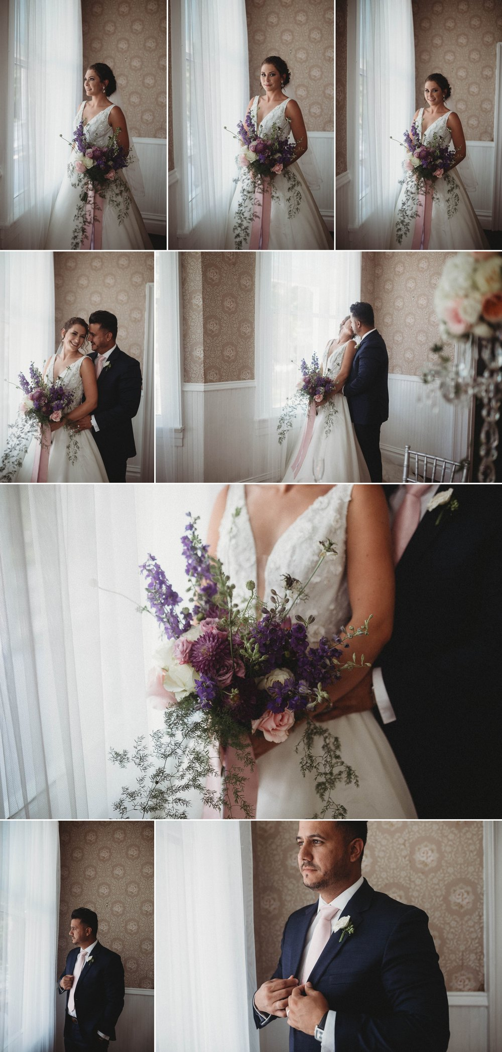Portraits of Bride and Groom in front of a Window in a old southern mansion, Raleigh North Carolina Wedding Photographer
