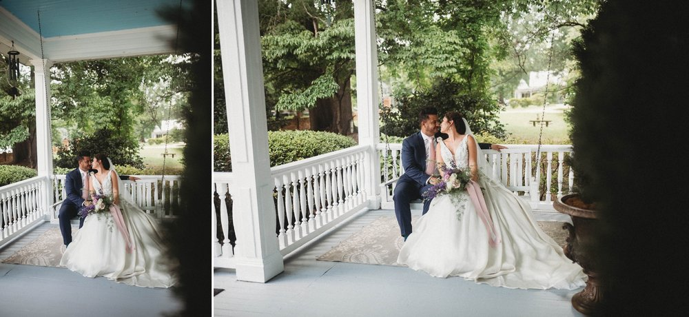 Portraits of Bride and groom on the swing of a southern mansion, Raleigh North Carolina Wedding Photographer