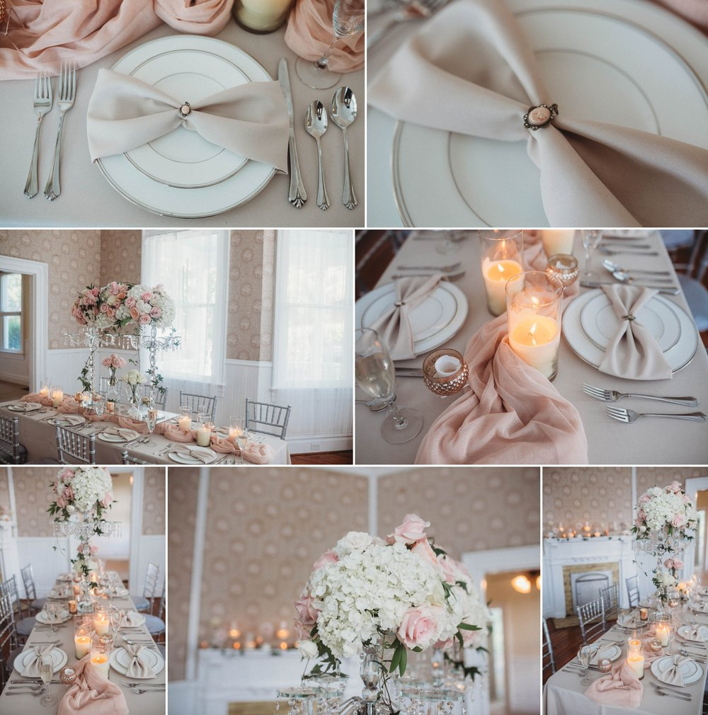 Blush pink Table Decorations for a romantic wedding, Raleigh North Carolina Wedding Photographer