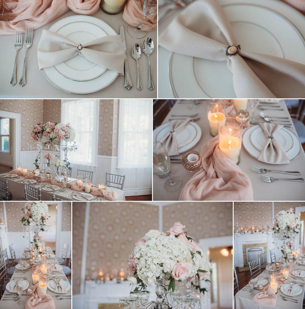 Blush pink Table Decorations for a romantic wedding, Raleigh North Carolina Wedding Photographer