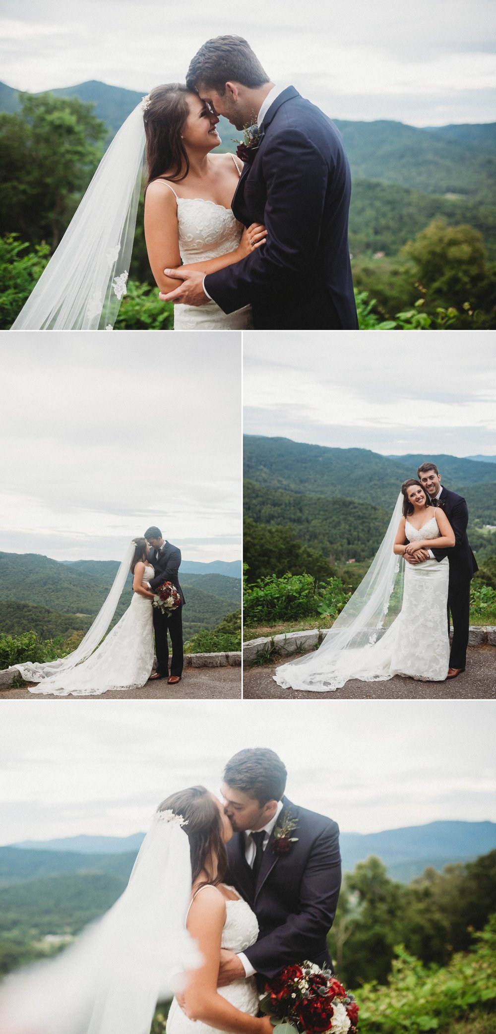 Portraits of Bride and Groom Megan + Jon - Run away Elopement at the Blue Ridge Park Way in Asheville, North Carolina