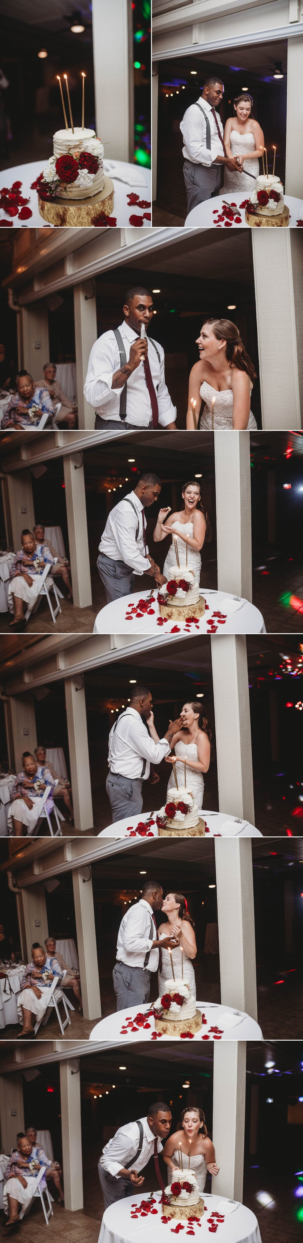 Cutting of the Wedding Cake - Rachel + Jamison - Rumbling Bald Resort, Lake Lure, NC - Asheville, North Carolina Wedding Photographer