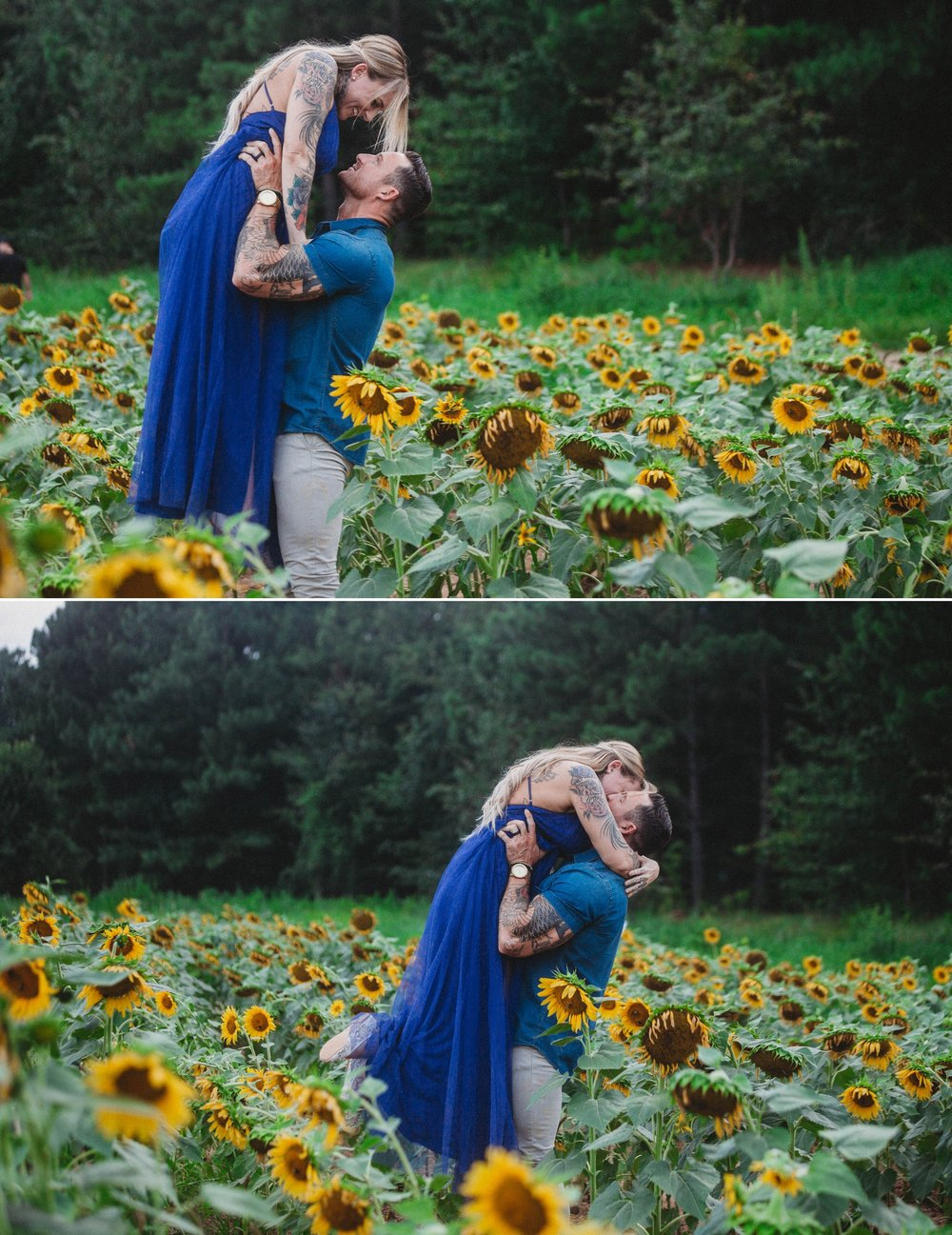 Hannah + Brandon - Wildflower + Sunflower Engagement Session - Raleigh Wedding Photographer
